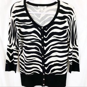WHBM Silver Button-Zebra Print Cardigan. Like New